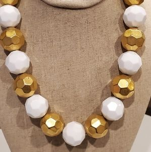Anne Klein white and goldtone Faceted necklace